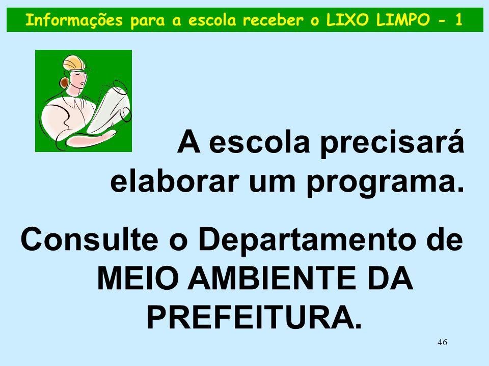 46 A escola precisará elaborar um programa. Consulte o Departamento de MEIO AMBIENTE DA PREFEITURA. Informações para a escola receber o LIXO LIMPO - 1
