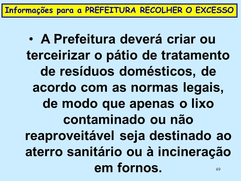 49 Informações para a PREFEITURA RECOLHER O EXCESSO •A Prefeitura deverá criar ou terceirizar o pátio de tratamento de resíduos domésticos, de acordo