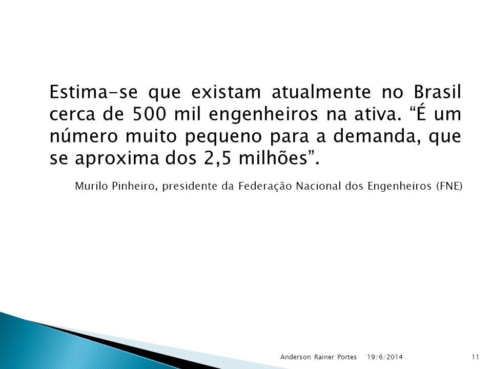 """Estima-se que existam atualmente no Brasil cerca de 500 mil engenheiros na ativa. """"É um número muito pequeno para a demanda, que se aproxima dos 2,5 m"""