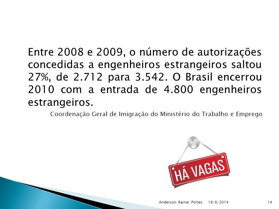 Entre 2008 e 2009, o número de autorizações concedidas a engenheiros estrangeiros saltou 27%, de 2.712 para 3.542. O Brasil encerrou 2010 com a entrad