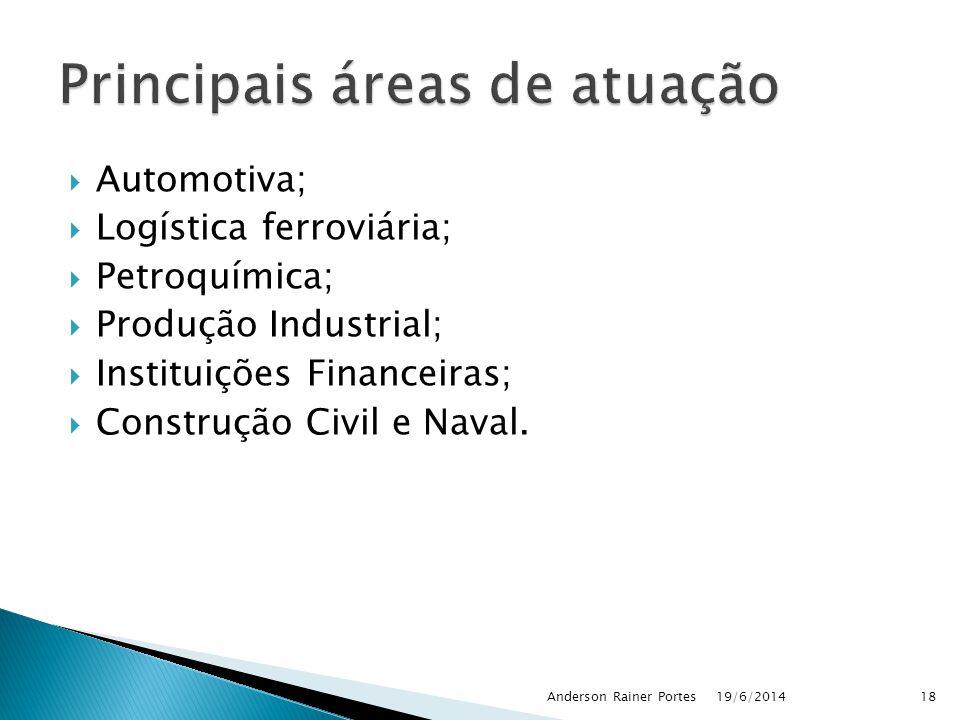  Automotiva;  Logística ferroviária;  Petroquímica;  Produção Industrial;  Instituições Financeiras;  Construção Civil e Naval.