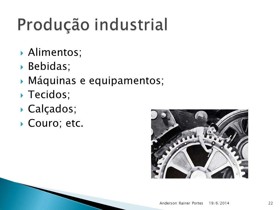  Alimentos;  Bebidas;  Máquinas e equipamentos;  Tecidos;  Calçados;  Couro; etc. 19/6/2014Anderson Rainer Portes22