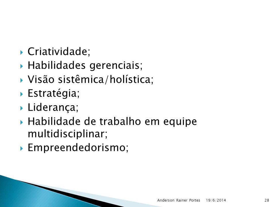  Criatividade;  Habilidades gerenciais;  Visão sistêmica/holística;  Estratégia;  Liderança;  Habilidade de trabalho em equipe multidisciplinar;
