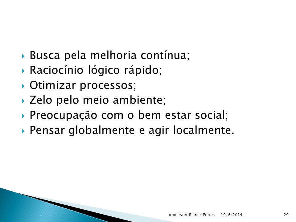  Busca pela melhoria contínua;  Raciocínio lógico rápido;  Otimizar processos;  Zelo pelo meio ambiente;  Preocupação com o bem estar social;  P