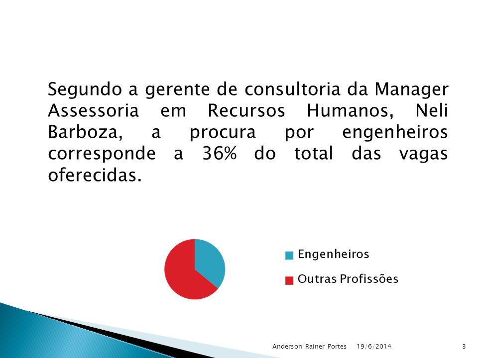 Segundo a gerente de consultoria da Manager Assessoria em Recursos Humanos, Neli Barboza, a procura por engenheiros corresponde a 36% do total das vag