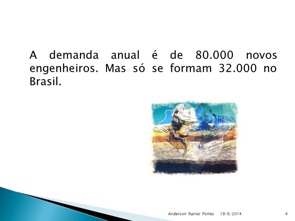 A demanda anual é de 80.000 novos engenheiros. Mas só se formam 32.000 no Brasil. 19/6/2014Anderson Rainer Portes4
