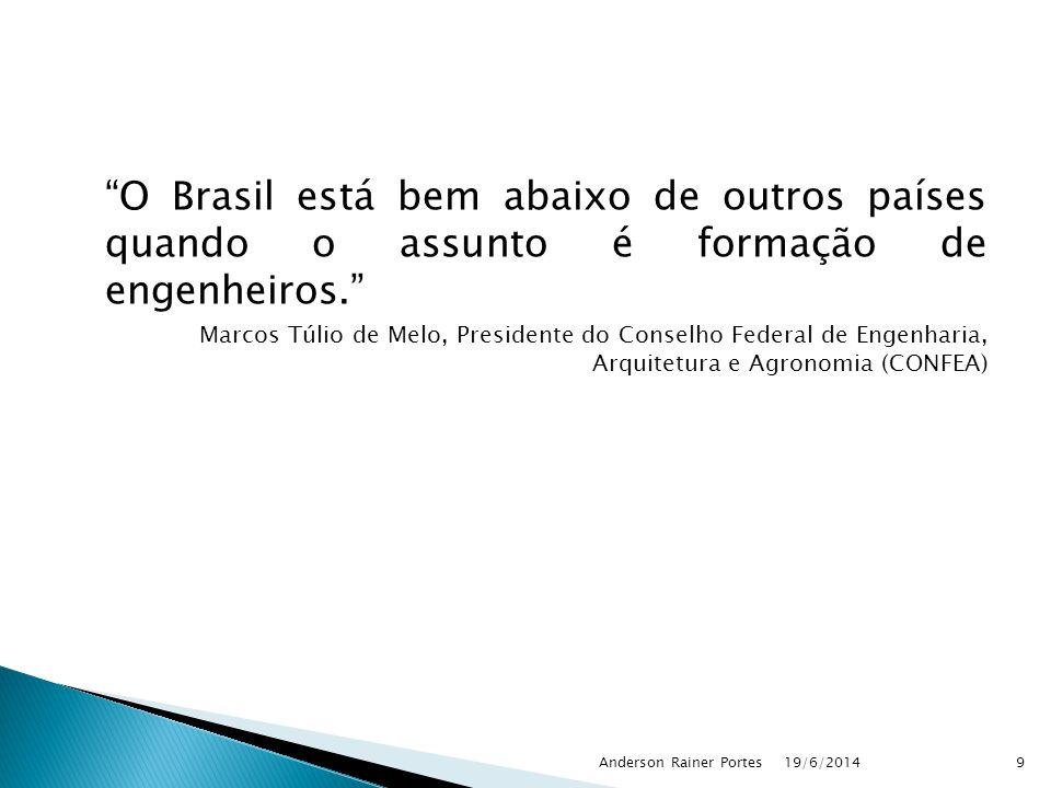 O Brasil está bem abaixo de outros países quando o assunto é formação de engenheiros. Marcos Túlio de Melo, Presidente do Conselho Federal de Engenharia, Arquitetura e Agronomia (CONFEA) 19/6/2014Anderson Rainer Portes9
