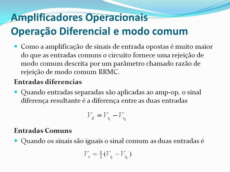 Amplificadores Operacionais Operação Diferencial e modo comum  Como a amplificação de sinais de entrada opostas é muito maior do que as entradas comuns o circuito fornece uma rejeição de modo comum descrita por um parâmetro chamado razão de rejeição de modo comum RRMC.