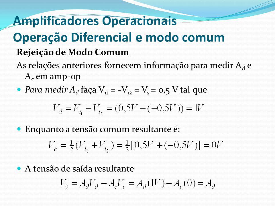 Amplificadores Operacionais Operação Diferencial e modo comum Rejeição de Modo Comum As relações anteriores fornecem informação para medir A d e A c em amp-op  Para medir A d faça V i1 = -V i2 = V s = 0,5 V tal que  Enquanto a tensão comum resultante é:  A tensão de saída resultante