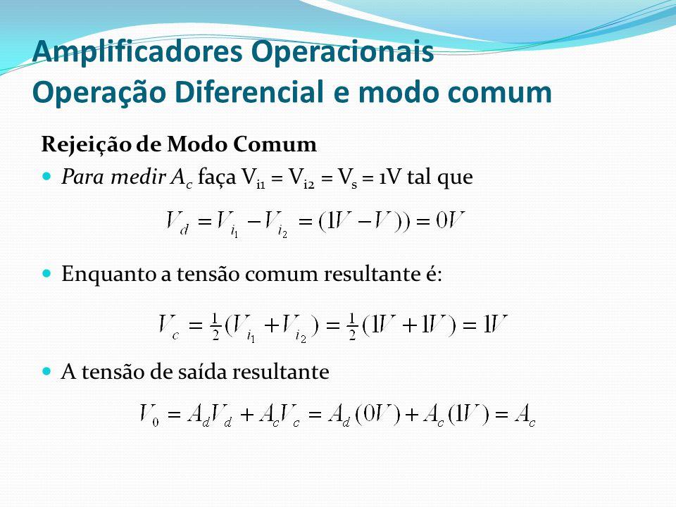Amplificadores Operacionais Operação Diferencial e modo comum Rejeição de Modo Comum  Para medir A c faça V i1 = V i2 = V s = 1V tal que  Enquanto a tensão comum resultante é:  A tensão de saída resultante