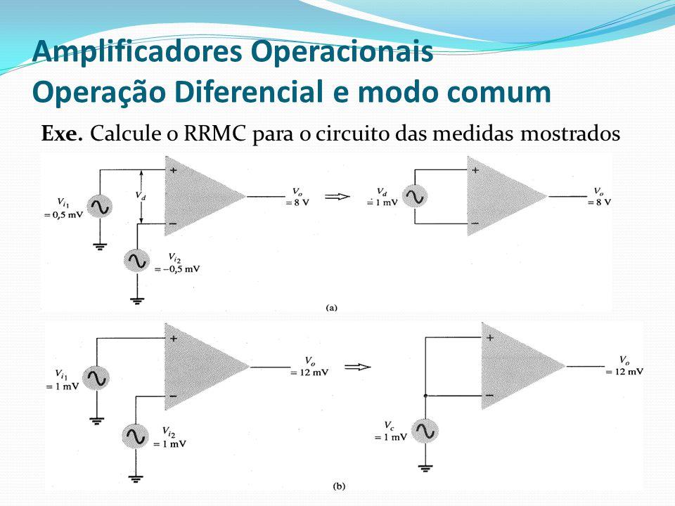 Amplificadores Operacionais Operação Diferencial e modo comum Exe. Calcule o RRMC para o circuito das medidas mostrados