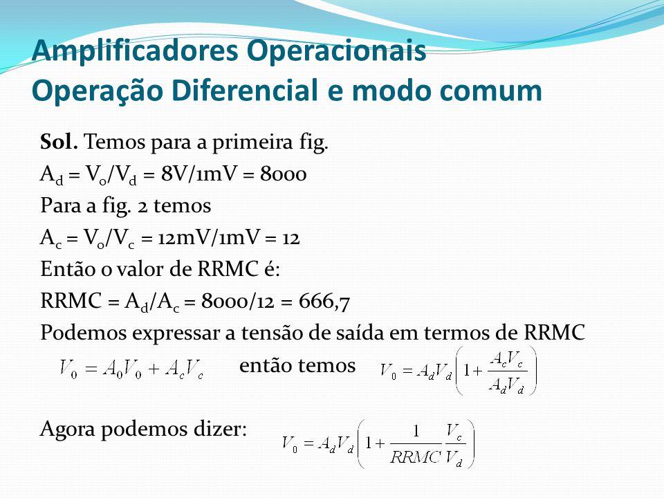 Amplificadores Operacionais Operação Diferencial e modo comum Sol. Temos para a primeira fig. A d = V o /V d = 8V/1mV = 8000 Para a fig. 2 temos A c =