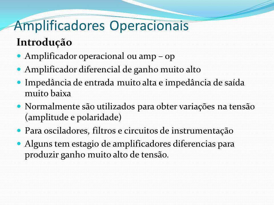 Amplificadores Operacionais Introdução  Amplificador operacional ou amp – op  Amplificador diferencial de ganho muito alto  Impedância de entrada m