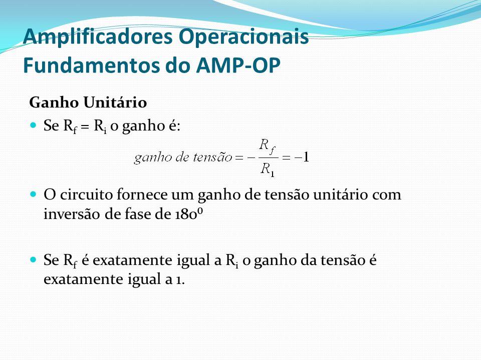Amplificadores Operacionais Fundamentos do AMP-OP Ganho Unitário  Se R f = R i o ganho é:  O circuito fornece um ganho de tensão unitário com inversão de fase de 180⁰  Se R f é exatamente igual a R i o ganho da tensão é exatamente igual a 1.