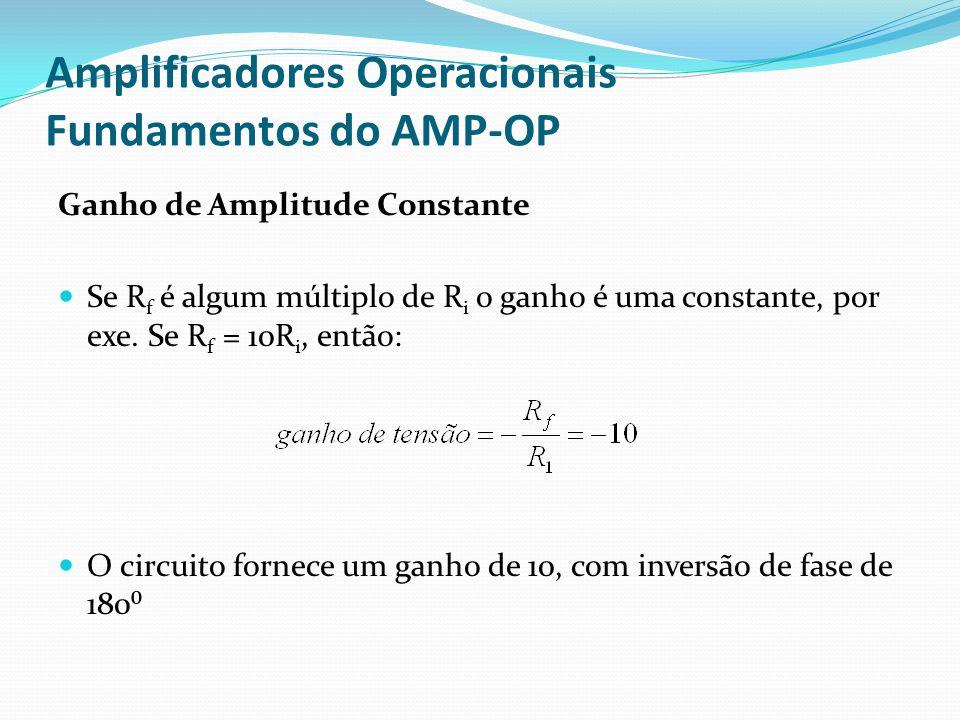 Amplificadores Operacionais Fundamentos do AMP-OP Ganho de Amplitude Constante  Se R f é algum múltiplo de R i o ganho é uma constante, por exe. Se R