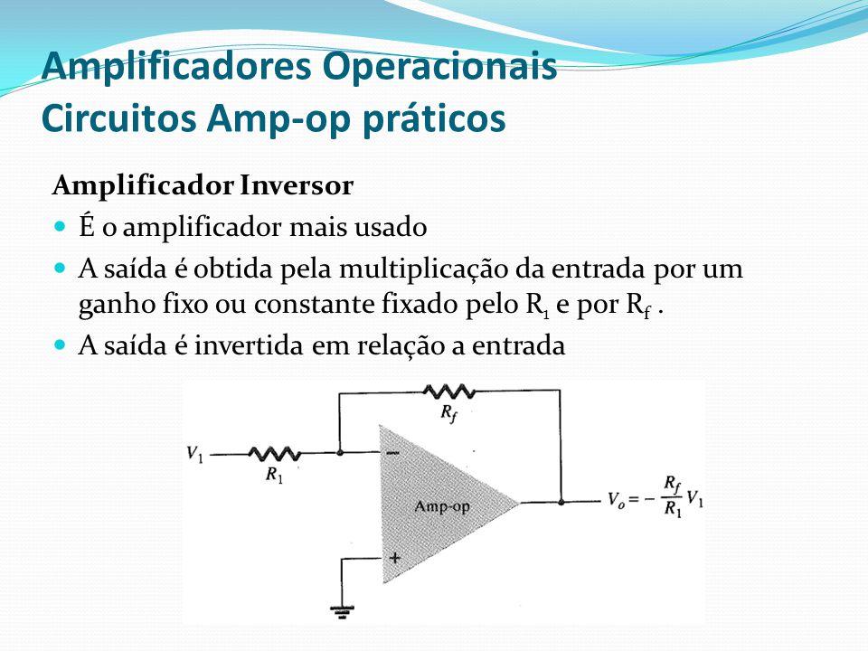 Amplificadores Operacionais Circuitos Amp-op práticos Amplificador Inversor  É o amplificador mais usado  A saída é obtida pela multiplicação da entrada por um ganho fixo ou constante fixado pelo R 1 e por R f.