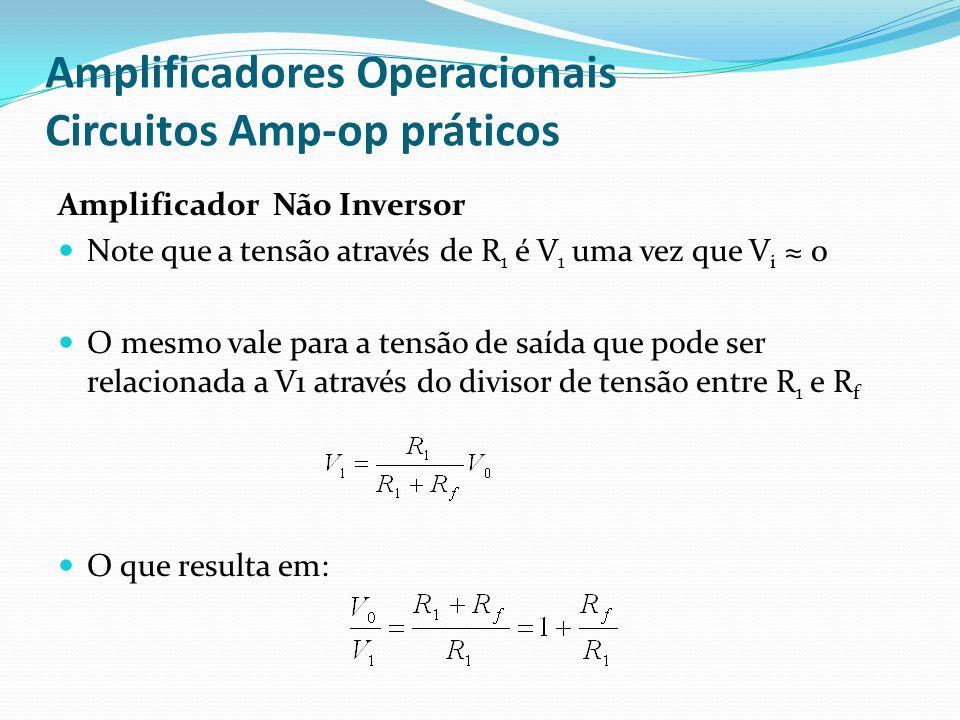 Amplificadores Operacionais Circuitos Amp-op práticos Amplificador Não Inversor  Note que a tensão através de R 1 é V 1 uma vez que V i ≈ 0  O mesmo vale para a tensão de saída que pode ser relacionada a V1 através do divisor de tensão entre R 1 e R f  O que resulta em: