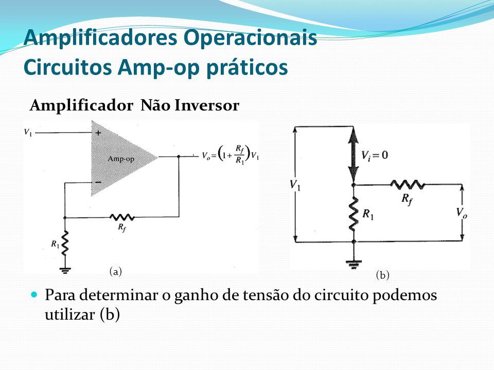 Amplificadores Operacionais Circuitos Amp-op práticos Amplificador Não Inversor  Para determinar o ganho de tensão do circuito podemos utilizar (b) (
