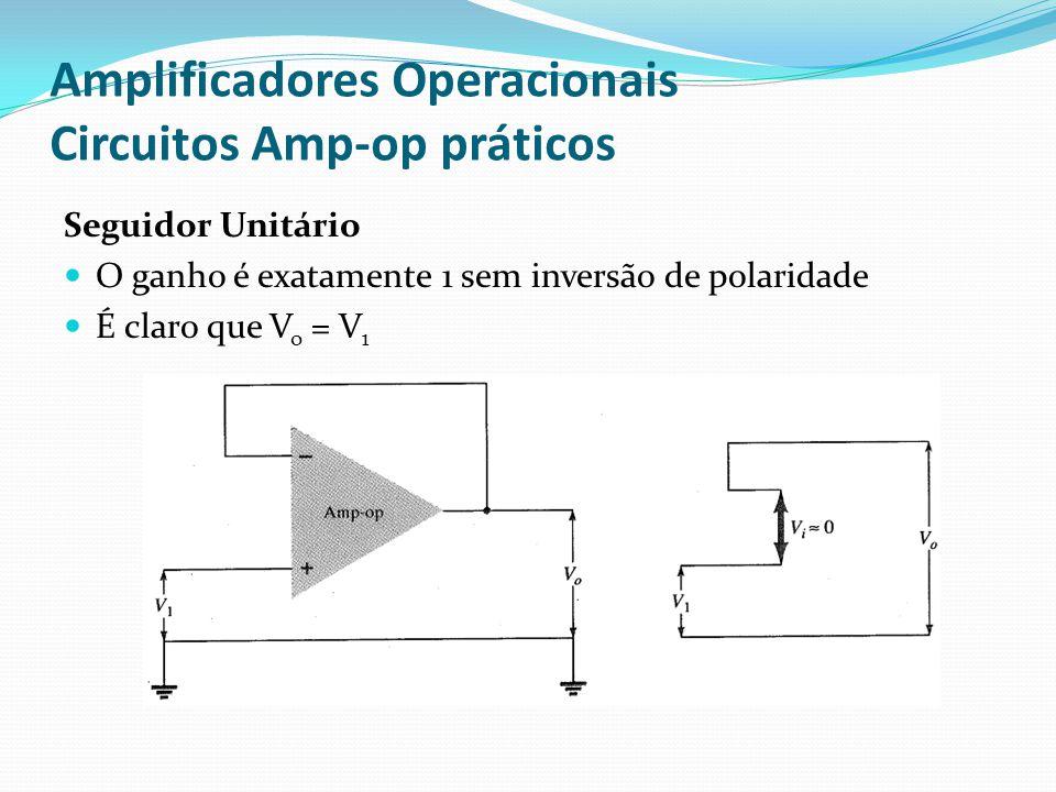 Amplificadores Operacionais Circuitos Amp-op práticos Seguidor Unitário  O ganho é exatamente 1 sem inversão de polaridade  É claro que V o = V 1
