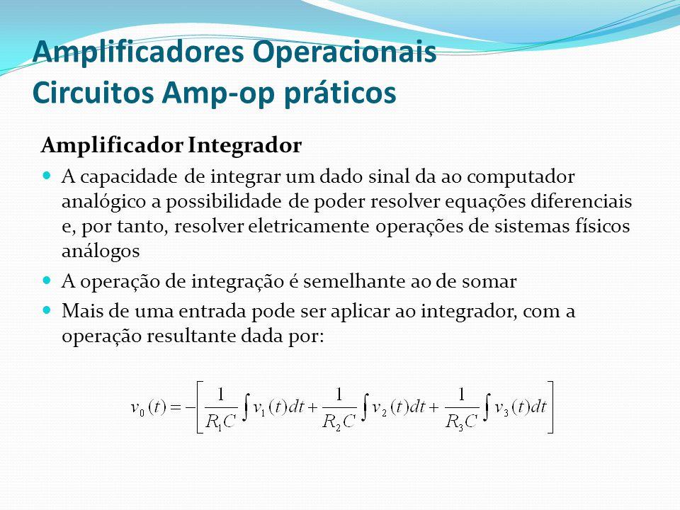Amplificadores Operacionais Circuitos Amp-op práticos Amplificador Integrador  A capacidade de integrar um dado sinal da ao computador analógico a po