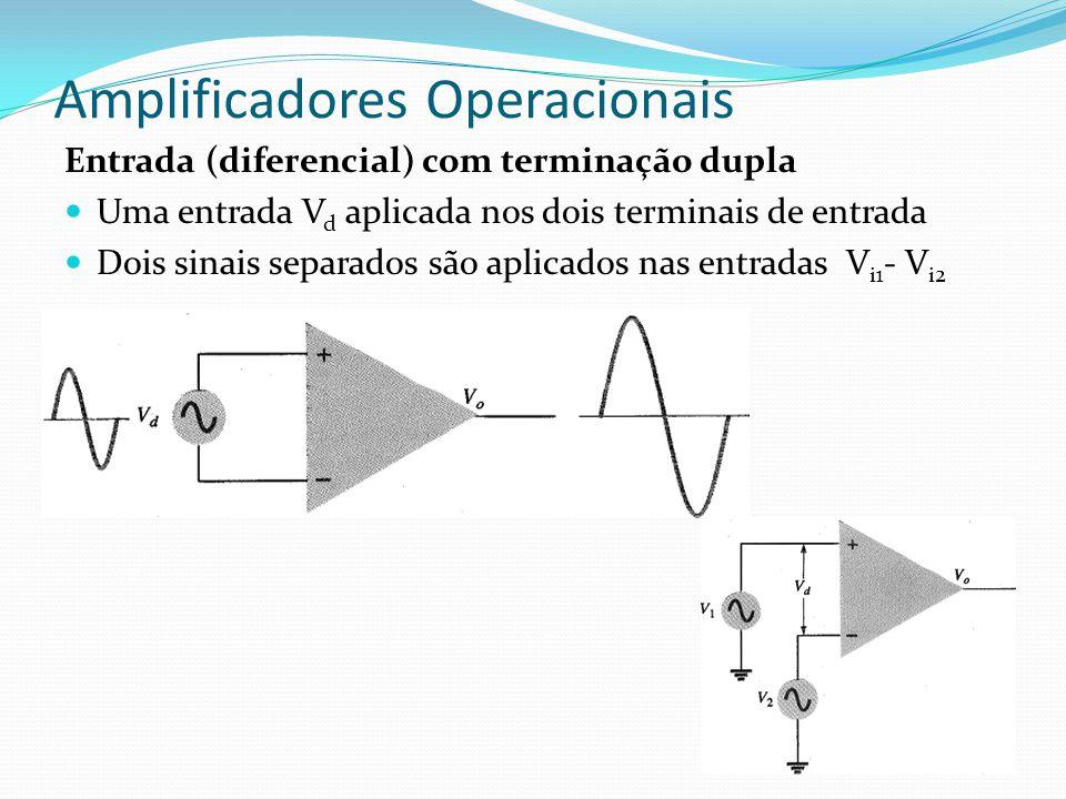 Amplificadores Operacionais Entrada (diferencial) com terminação dupla  Uma entrada V d aplicada nos dois terminais de entrada  Dois sinais separado