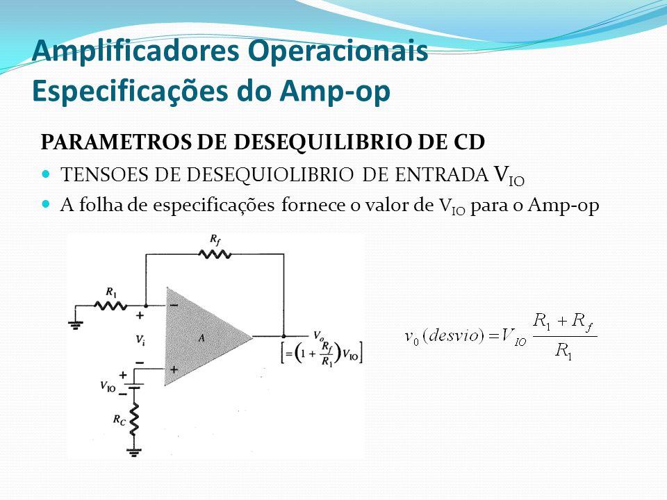 Amplificadores Operacionais Especificações do Amp-op PARAMETROS DE DESEQUILIBRIO DE CD  TENSOES DE DESEQUIOLIBRIO DE ENTRADA V IO  A folha de especificações fornece o valor de V IO para o Amp-op