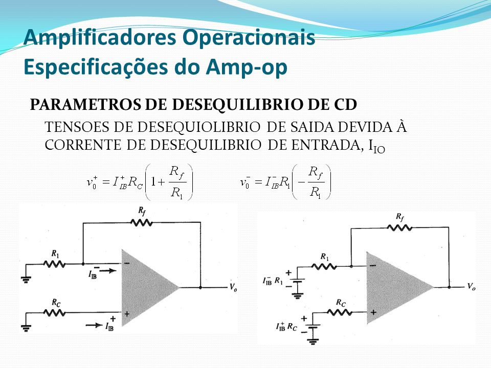 Amplificadores Operacionais Especificações do Amp-op PARAMETROS DE DESEQUILIBRIO DE CD TENSOES DE DESEQUIOLIBRIO DE SAIDA DEVIDA À CORRENTE DE DESEQUILIBRIO DE ENTRADA, I IO