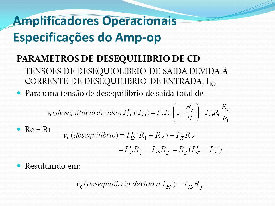 Amplificadores Operacionais Especificações do Amp-op PARAMETROS DE DESEQUILIBRIO DE CD TENSOES DE DESEQUIOLIBRIO DE SAIDA DEVIDA À CORRENTE DE DESEQUILIBRIO DE ENTRADA, I IO  Para uma tensão de desequilíbrio de saída total de  Rc = R1  Resultando em: