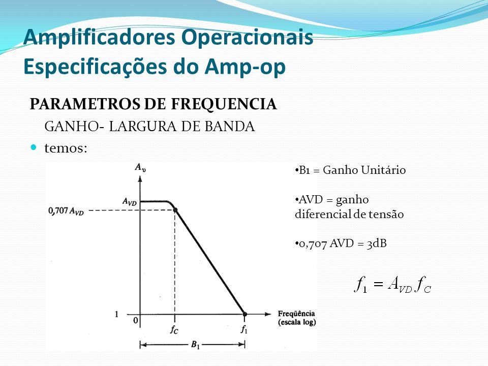 Amplificadores Operacionais Especificações do Amp-op PARAMETROS DE FREQUENCIA GANHO- LARGURA DE BANDA  temos: • B1 = Ganho Unitário • AVD = ganho dif