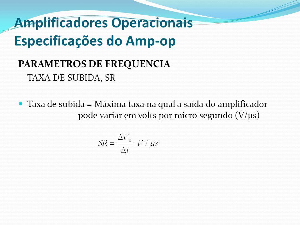 Amplificadores Operacionais Especificações do Amp-op PARAMETROS DE FREQUENCIA TAXA DE SUBIDA, SR  Taxa de subida = Máxima taxa na qual a saída do amp