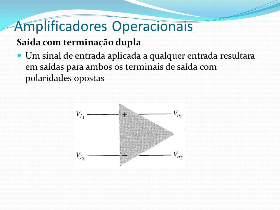 Amplificadores Operacionais Saída com terminação dupla  Um sinal de entrada aplicada a qualquer entrada resultara em saídas para ambos os terminais d