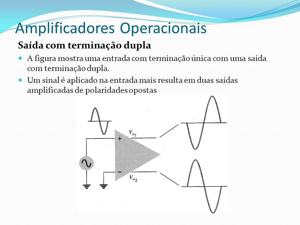 Amplificadores Operacionais Saída com terminação dupla  A figura mostra uma entrada com terminação única com uma saída com terminação dupla.  Um sin