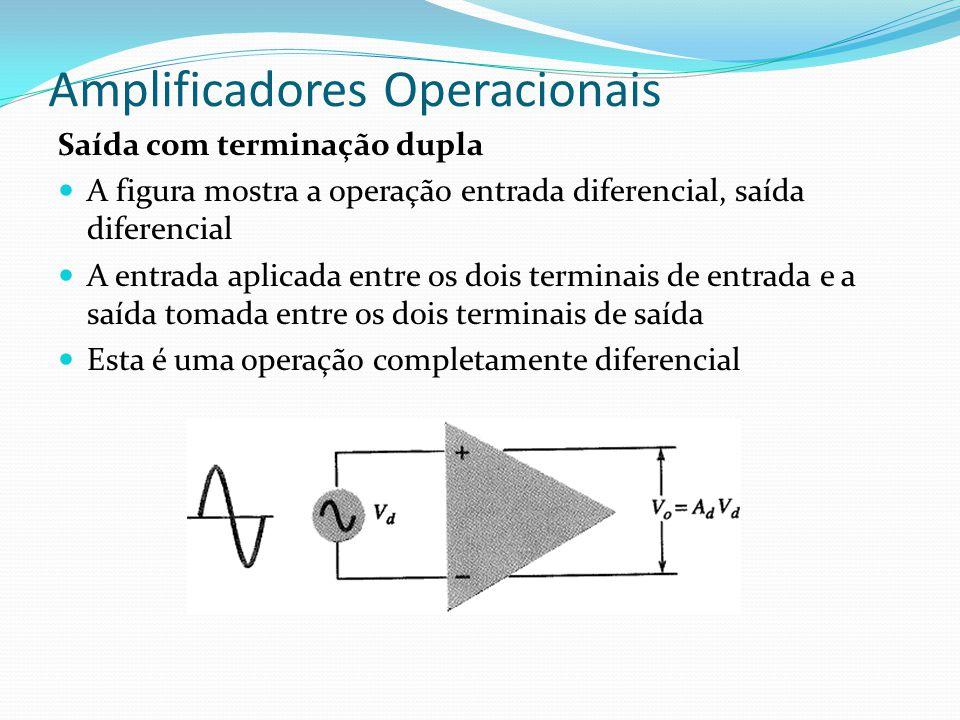 Amplificadores Operacionais Saída com terminação dupla  A figura mostra a operação entrada diferencial, saída diferencial  A entrada aplicada entre
