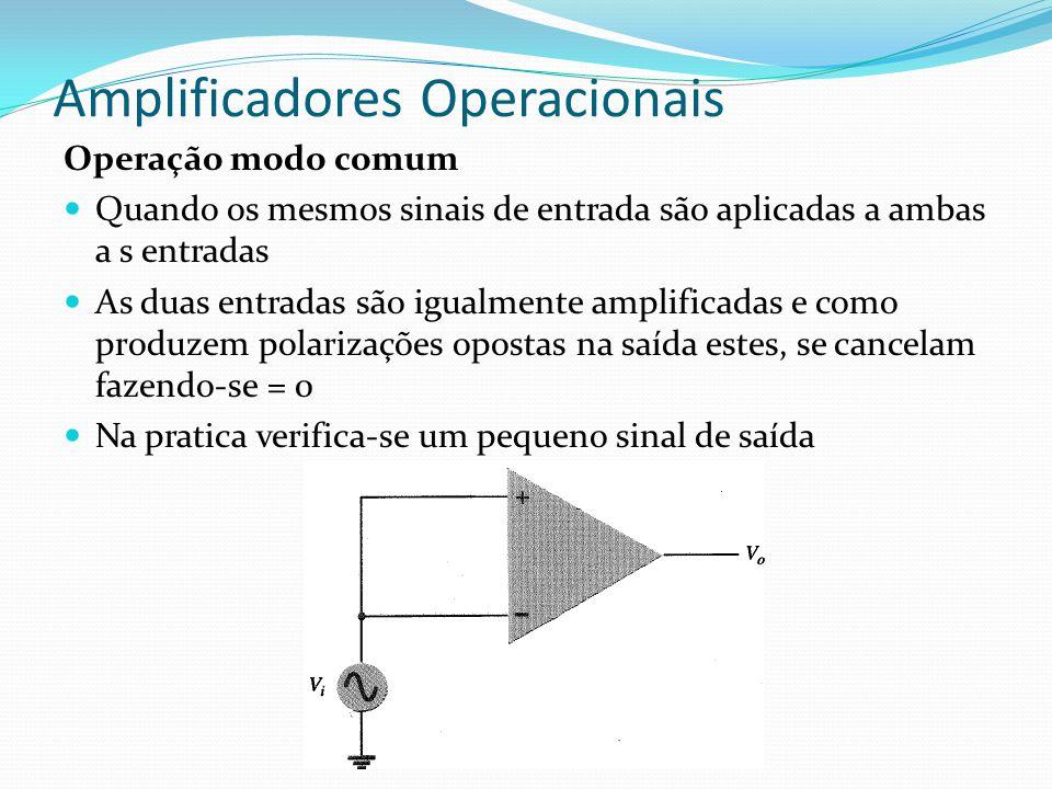 Amplificadores Operacionais Operação modo comum  Quando os mesmos sinais de entrada são aplicadas a ambas a s entradas  As duas entradas são igualmente amplificadas e como produzem polarizações opostas na saída estes, se cancelam fazendo-se = 0  Na pratica verifica-se um pequeno sinal de saída