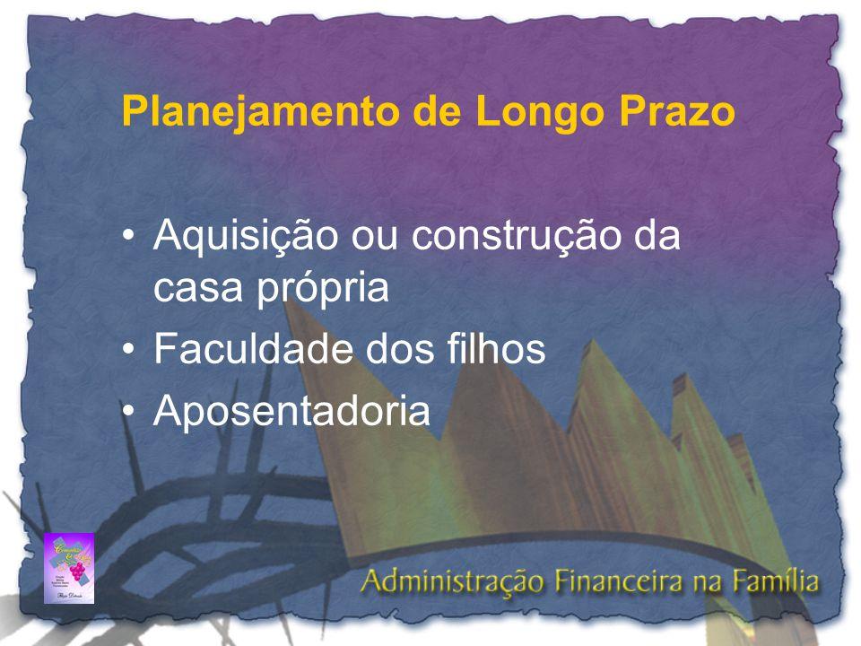 Planejamento de Longo Prazo •Aquisição ou construção da casa própria •Faculdade dos filhos •Aposentadoria