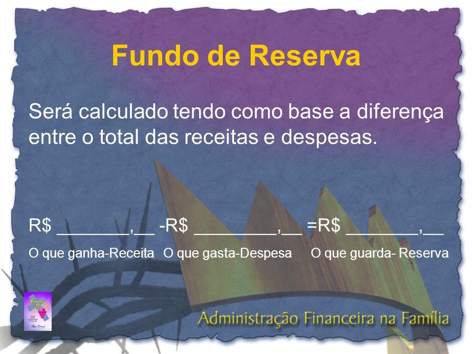 Fundo de Reserva Será calculado tendo como base a diferença entre o total das receitas e despesas. R$ _______,__ -R$ ________,__ =R$ _______,__ O que