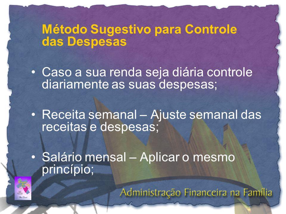 Método Sugestivo para Controle das Despesas •Caso a sua renda seja diária controle diariamente as suas despesas; •Receita semanal – Ajuste semanal das
