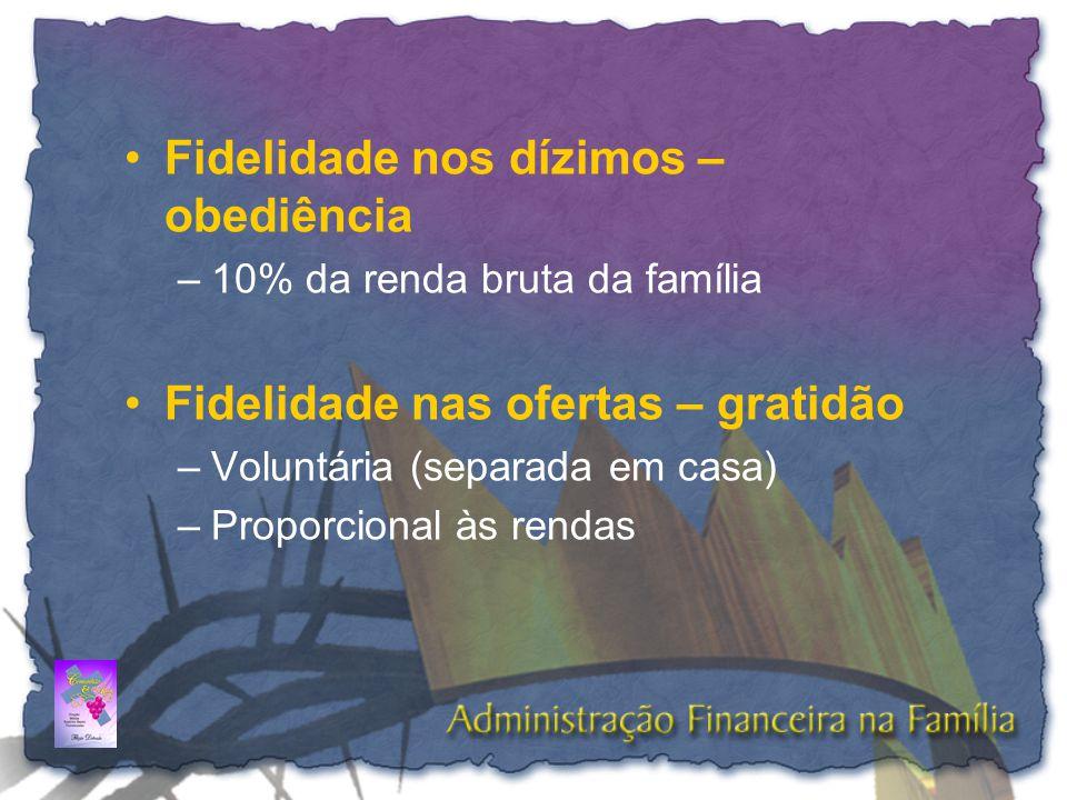 •Fidelidade nos dízimos – obediência –10% da renda bruta da família •Fidelidade nas ofertas – gratidão –Voluntária (separada em casa) –Proporcional às