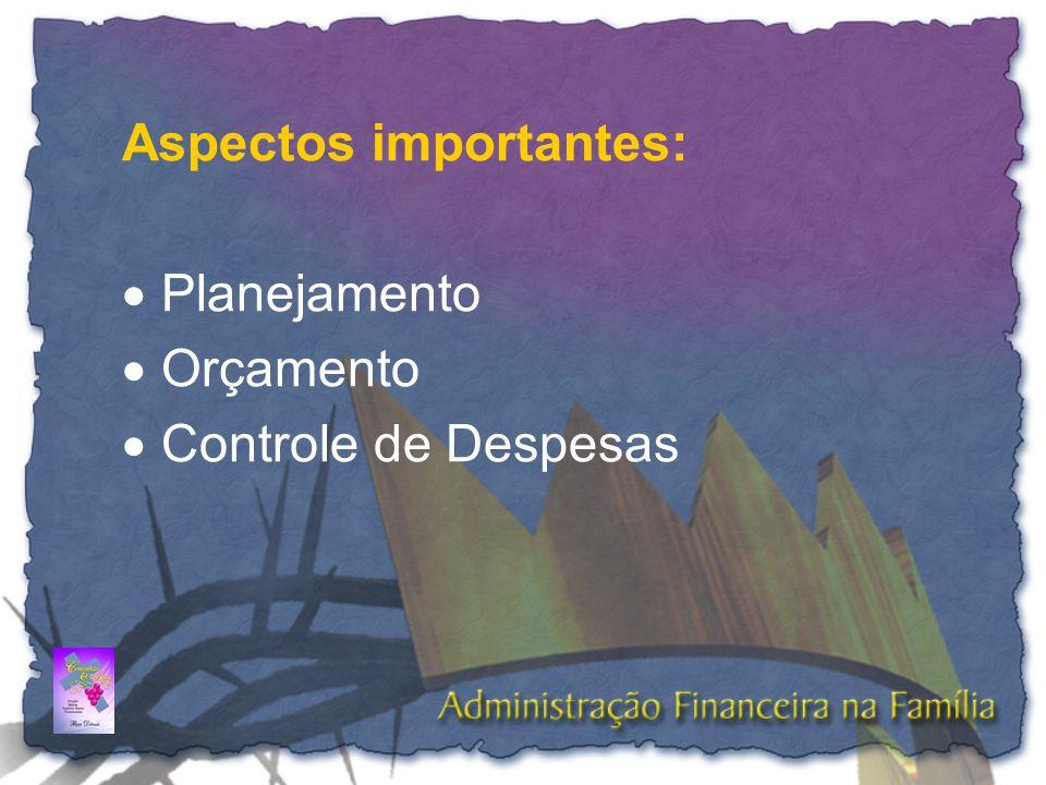 Aspectos importantes:  Planejamento  Orçamento  Controle de Despesas