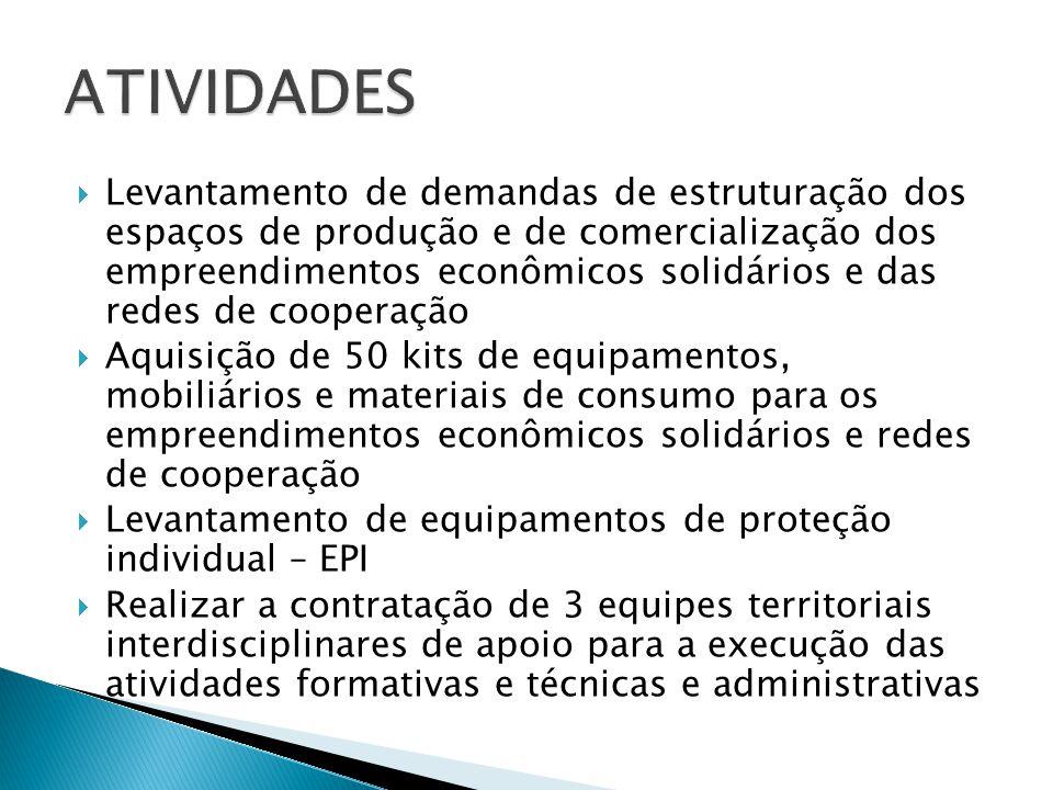  Levantamento de demandas de estruturação dos espaços de produção e de comercialização dos empreendimentos econômicos solidários e das redes de coope