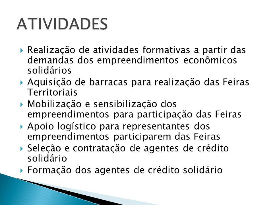  Realização de atividades formativas a partir das demandas dos empreendimentos econômicos solidários  Aquisição de barracas para realização das Feir
