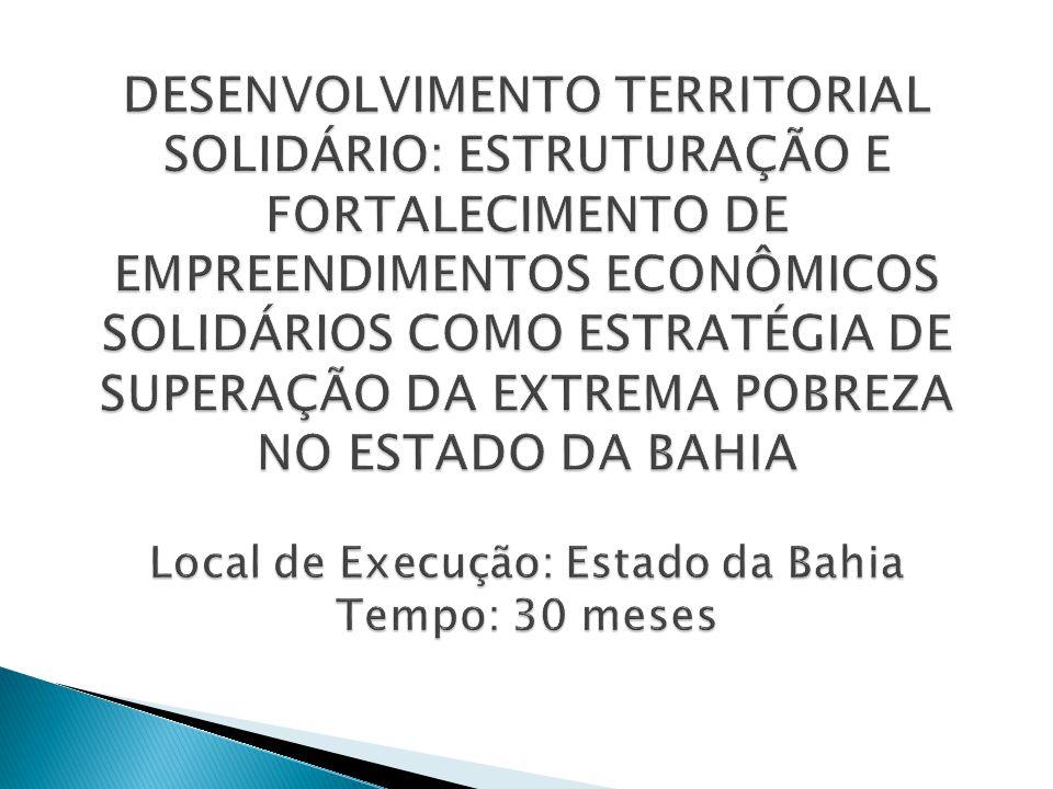  GERAL  Proporcionar ações de estruturação e de fortalecimento de empreendimentos econômicos solidários como estratégia de superação da extrema pobreza e de promoção da melhoria da qualidade de vida a partir da construção e da integração de ações e de políticas públicas de desenvolvimento territorial no estado da Bahia.