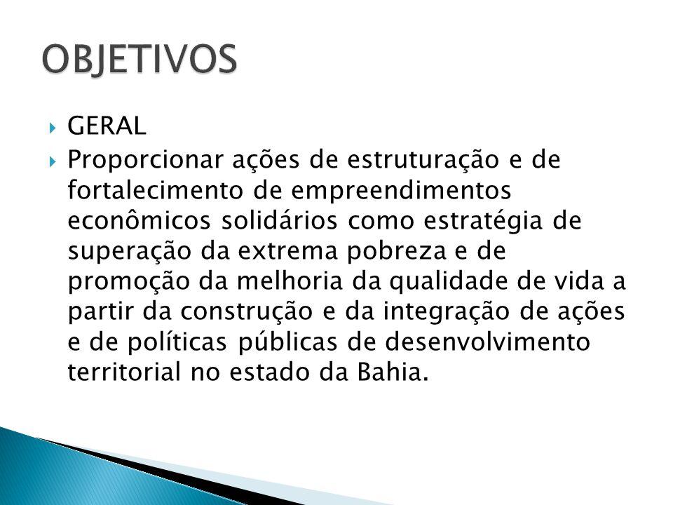  Promover processos de mobilização e de organização da economia solidária a partir da atuação de agentes comunitários de desenvolvimento solidário territorial.