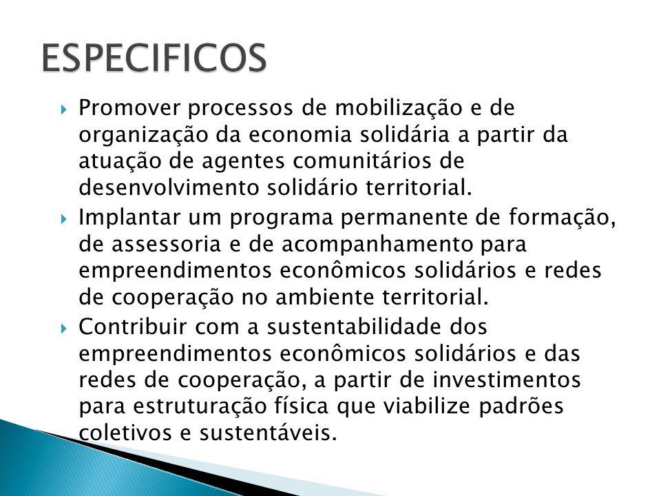  Estruturar processos de comercialização que propiciem a organização das cadeias produtivas voltadas para o comércio justo e solidário, com apoio das bases territoriais de serviço de apoio à comercialização e das feiras territoriais para as iniciativas de redes de cooperação.