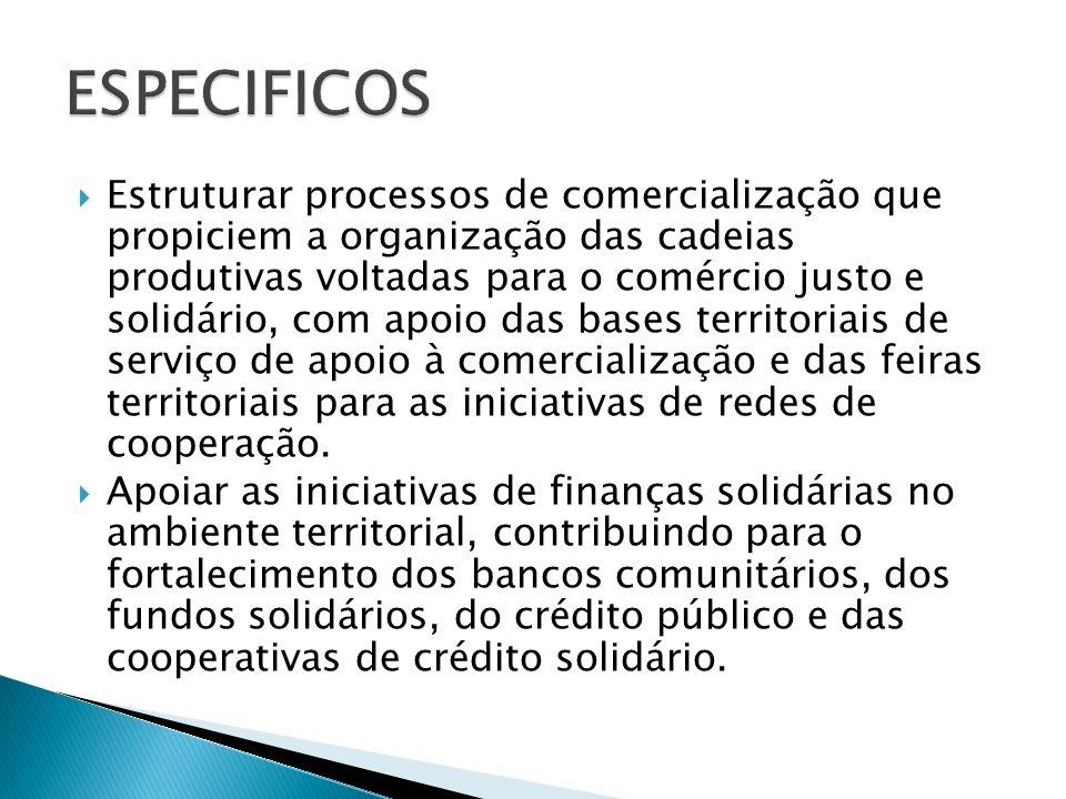  Estruturar processos de comercialização que propiciem a organização das cadeias produtivas voltadas para o comércio justo e solidário, com apoio das