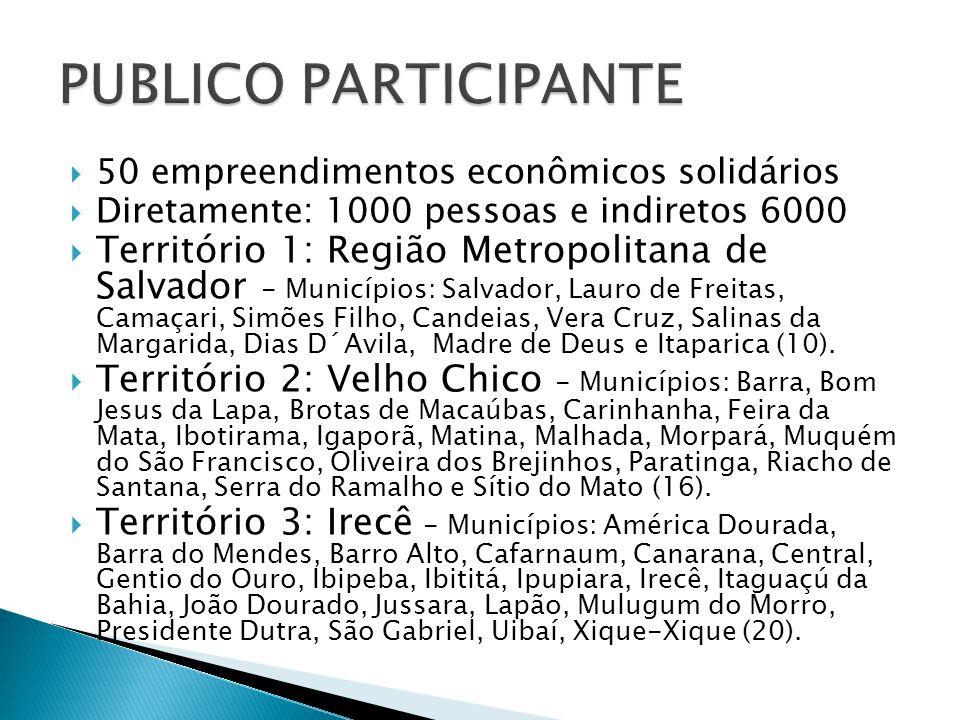  50 empreendimentos econômicos solidários  Diretamente: 1000 pessoas e indiretos 6000  Território 1: Região Metropolitana de Salvador - Municípios: