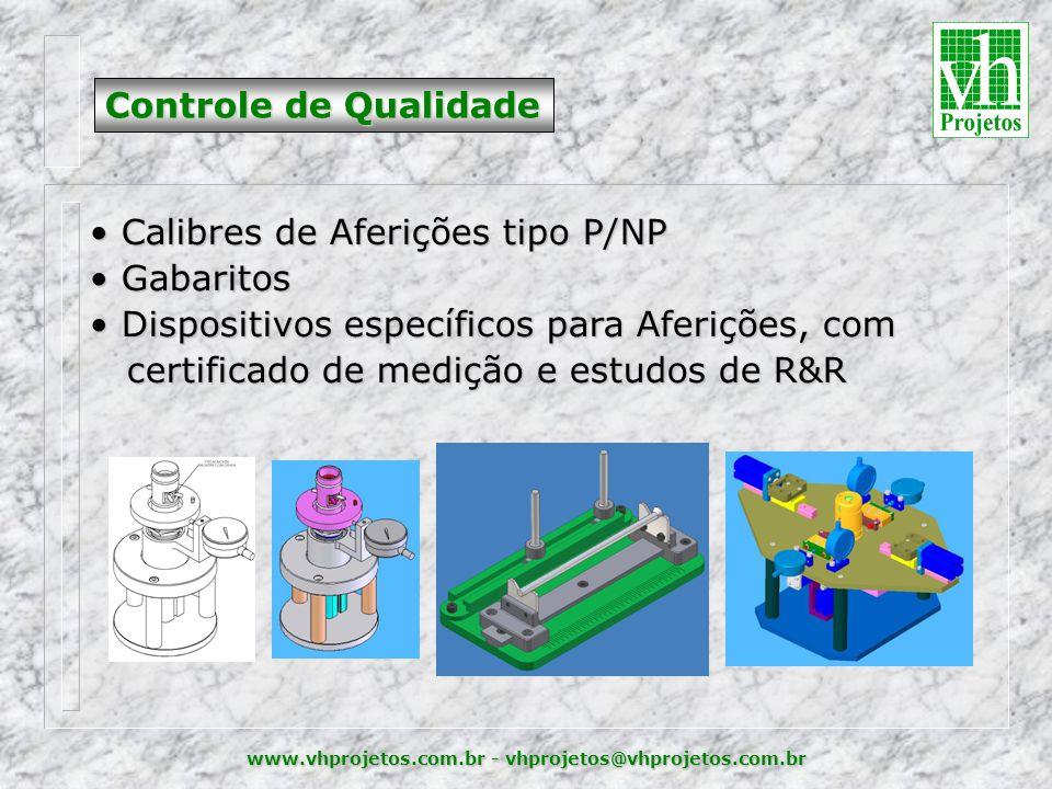 www.vhprojetos.com.br - vhprojetos@vhprojetos.com.br Controle de Qualidade • Calibres de Aferições tipo P/NP • Gabaritos • Dispositivos específicos para Aferições, com certificado de medição e estudos de R&R certificado de medição e estudos de R&R