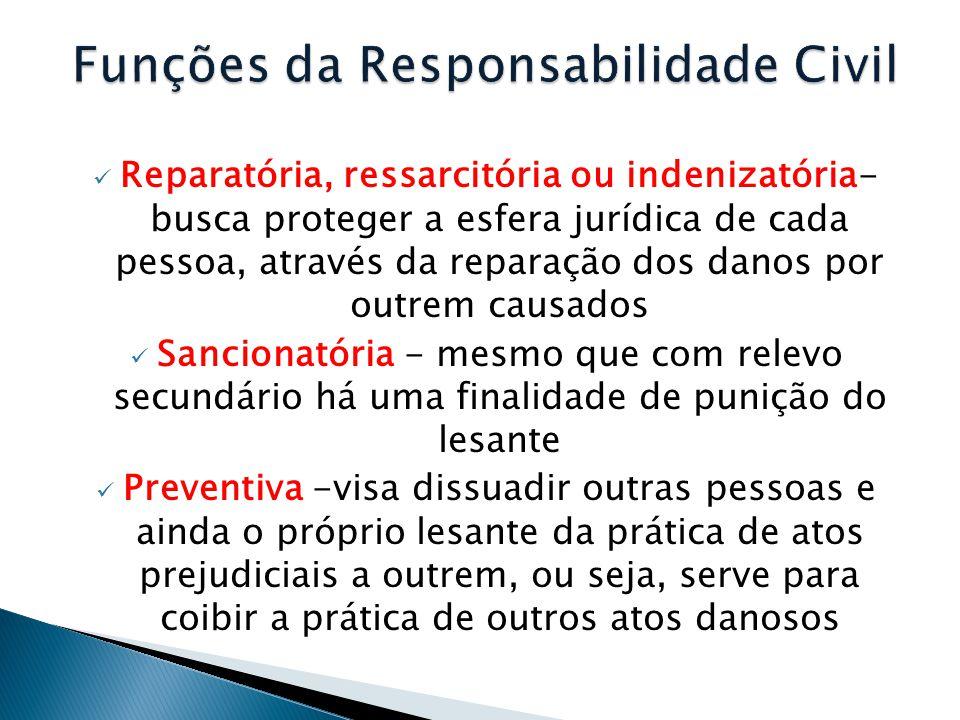  Reparatória, ressarcitória ou indenizatória- busca proteger a esfera jurídica de cada pessoa, através da reparação dos danos por outrem causados  S