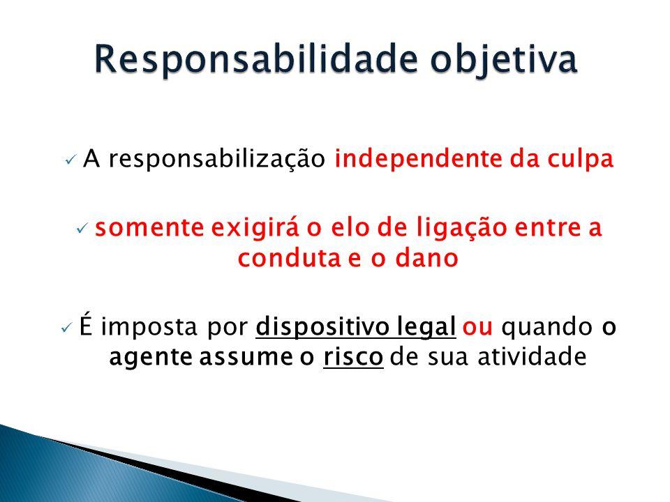  A responsabilização independente da culpa  somente exigirá o elo de ligação entre a conduta e o dano  É imposta por dispositivo legal ou quando o agente assume o risco de sua atividade
