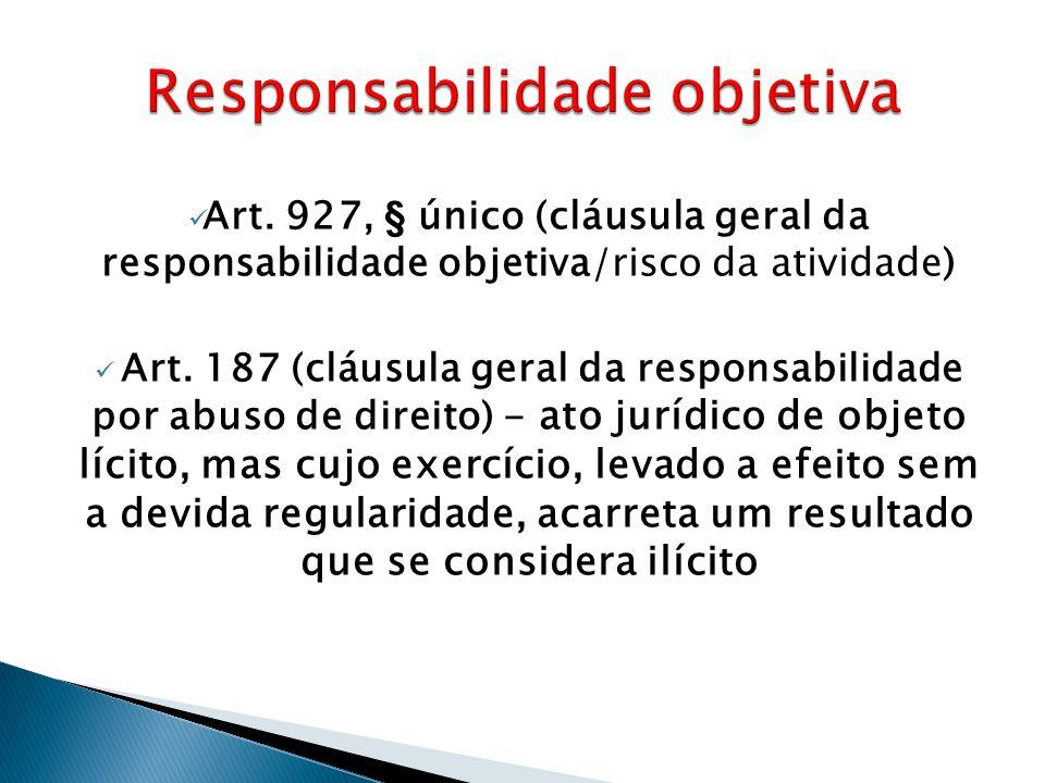  Art. 927, § único (cláusula geral da responsabilidade objetiva/risco da atividade)  Art. 187 (cláusula geral da responsabilidade por abuso de direi